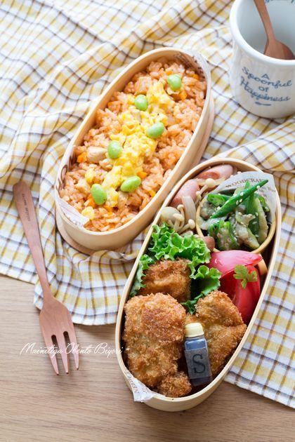 チキンライスと豚カツのお弁当。|あ~るママオフィシャルブログ「毎日がお弁当日和♪」Powered by Ameba