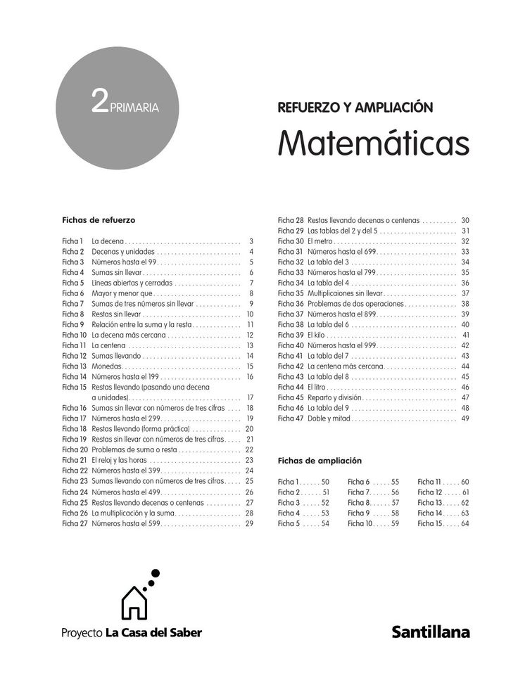 ISSUU - Refuerzo y Ampliación de Matemáticas 2º de Primaría - La casa del Saber - Santillana - de Educación Primaria