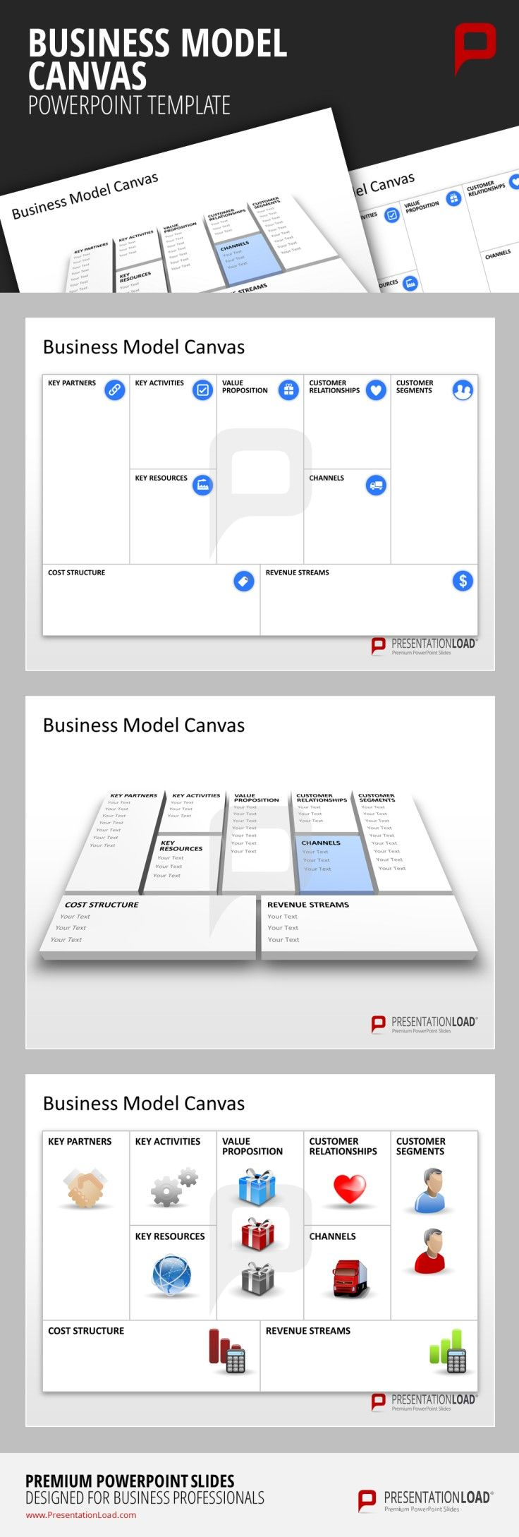 Business Model Canvas PowerPoint Template Start with your Business Model ideas today and work through your personal Business Model Canvas directly in PowerPoint.  #presentationload www.presentationl...