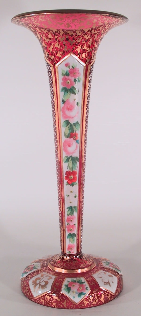 Antique tall Bohemian hand painted and gilt pink glass vase by Moser or Harrach, 19th-20th Cent.