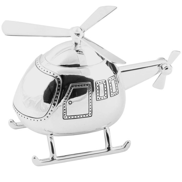 Helicopter Silver Money Box birthday Personalised Gifts Boys Silver