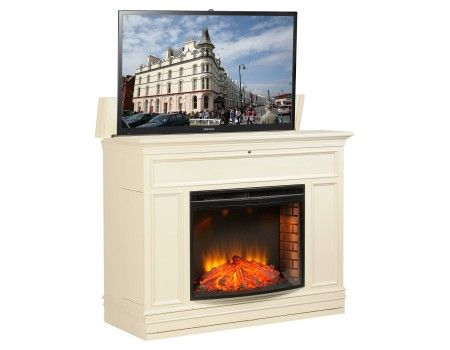 grandover tv lift cabinet w electric fireplace finally a way to entertain in the