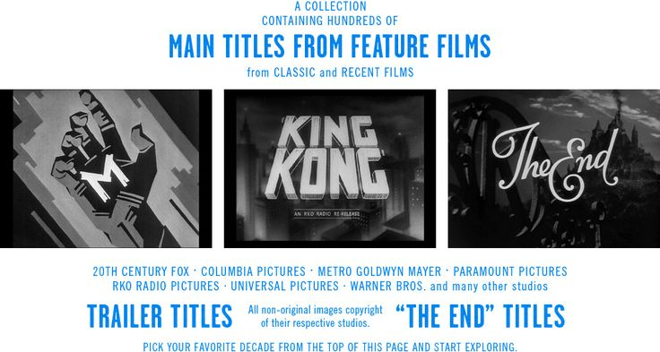 a collection containing hundreds of main titles from feature films from classic and recent films.