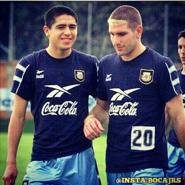 Roman Riquelme y Martin Palermo entrenando para la selección Argentina.