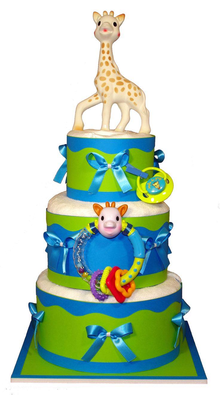 Gâteau de couches 3 étages Sophie la Girafe (Vulli)