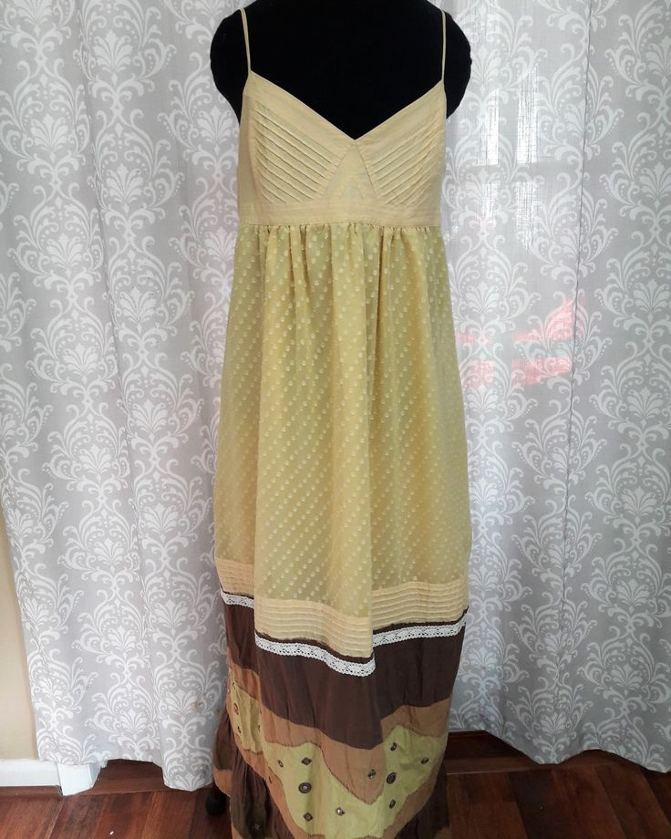Boho Hippie Prom Dress, Yellow and Brown prom dress, Indie Prom Dress, Boho special occasion dress by OnceAndFutureApparel on Etsy