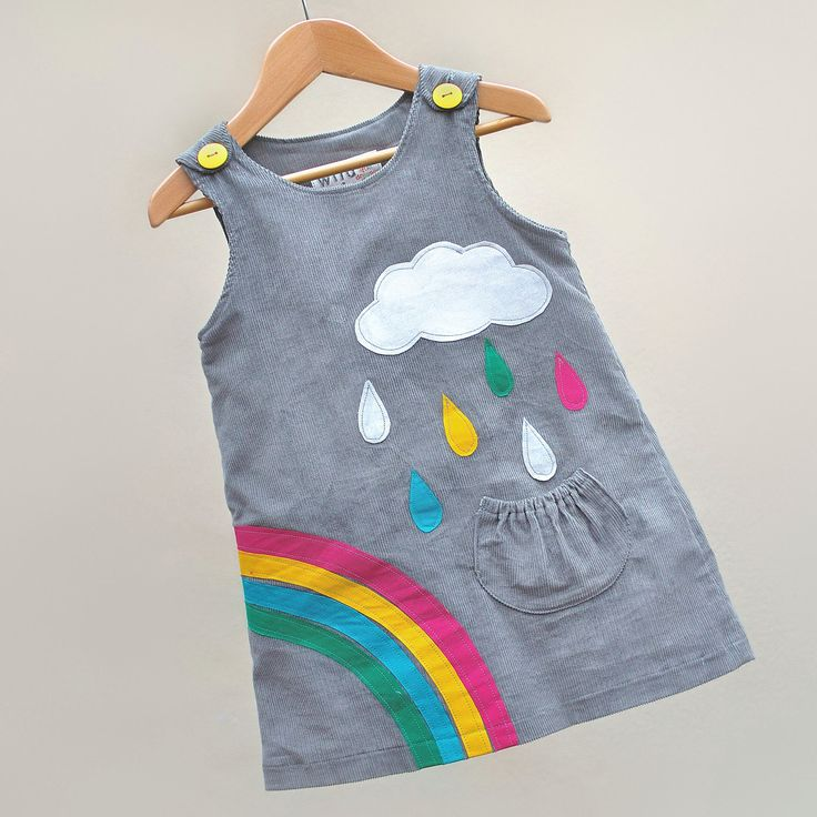 RAINBOW & silver cloud- Little girls dress-grey corduroy age 6M to 6T-Wild Things Dresses. $60.00, via Etsy.
