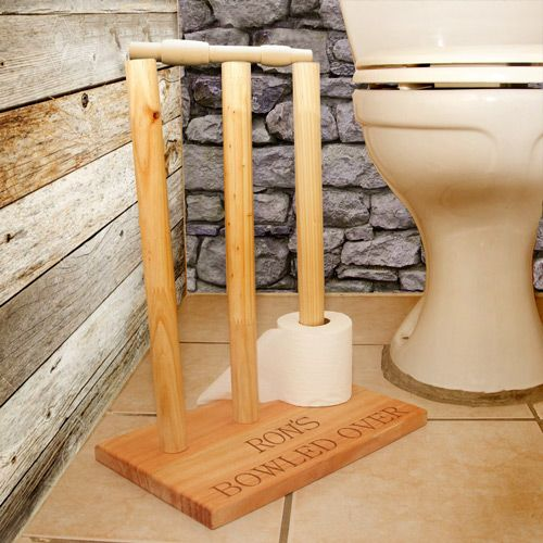 Personalised wooden cricket wickets A solid Saligna toilet roll holder, cricket wicket style.  This has to be the most innovative way to store loo rolls.... novel, beautifully made, practical (holds 8-10 rolls) and personal this is a perfect gift or just a great purchase for yourself! We know it will bring a smile to everyone's faces.
