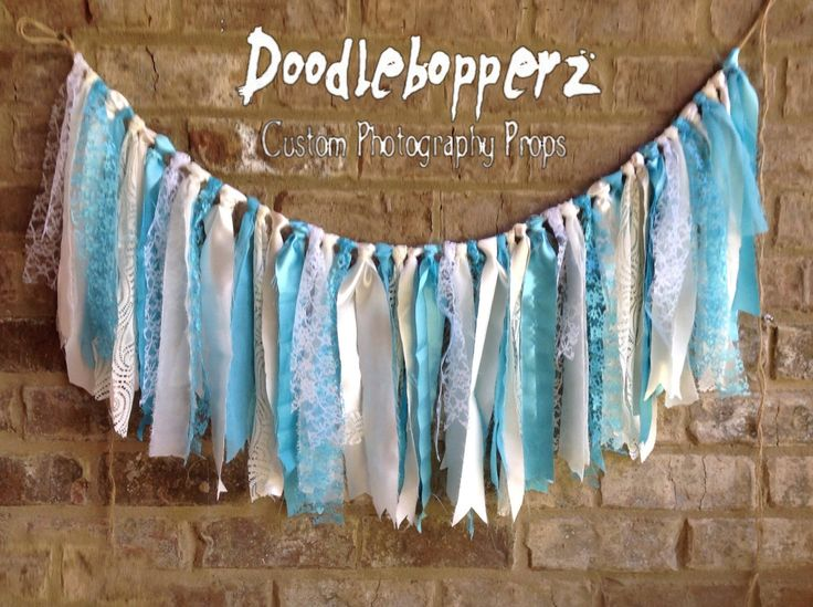 Rag Banner, Fabric Bunting, It's a Boy, Blue Banner, Window Covering, Turquoise, Aqua, Beige, White, Cream, Shabby Chic, Ready to Ship by Doodlebopperz on Etsy
