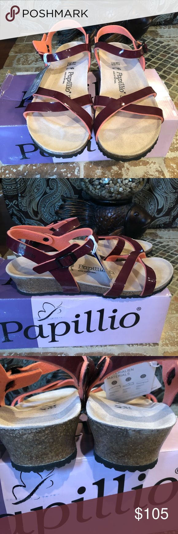 Papillio Birkenstock NWT Size 41 L10 Narrow Fit Brand new.  Original box  Alyssa Birko-Flor Two-Tone Patent Wine Papillio is proud to present a genuine best seller in the form of the feminine Alyssa strap sandal. This wedge heel sandal features a fine, crosswise strap above the instep and is popular among fashion- and comfort-conscious women on account of its svelte appearance. The upper comes in high-quality, skin-friendly Birko-Flor® with a patent finish and is lined in soft, contrasting…