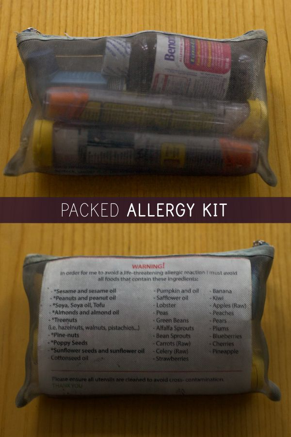 An allergy kit. Small enough to kit in a purse and strong enough to help in an allergic reaction.