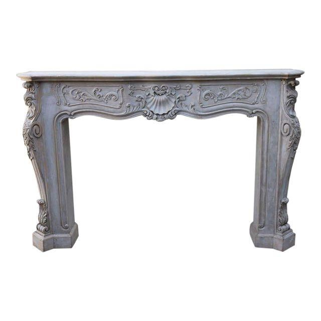 Image of Carved Painted Fireplace Mantel