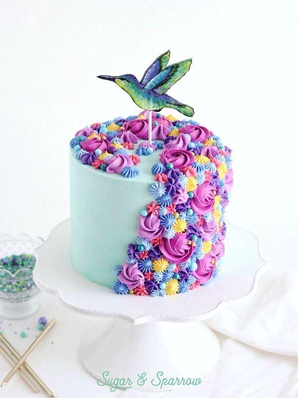Superb A Hummingbird Themed Birthday Cake Created By Sugar Sparrow Funny Birthday Cards Online Necthendildamsfinfo