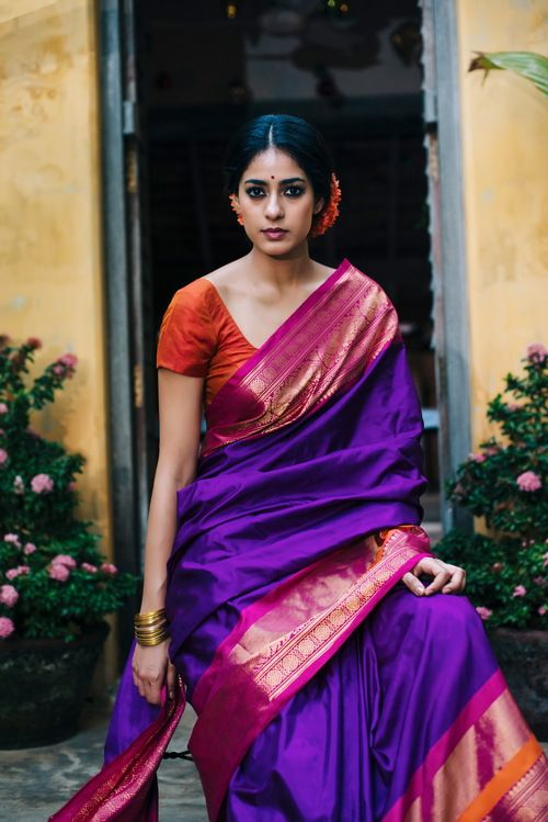 purple silk saree with pink border