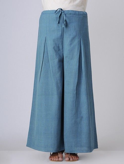 Blue Tie-Up waist Cotton Khadi Pants