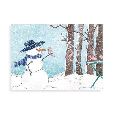 Kerstkaart met sneeuwpop en vogeltjes uit de kalender serie van Illu-Straver. Vogeltjes in januari.