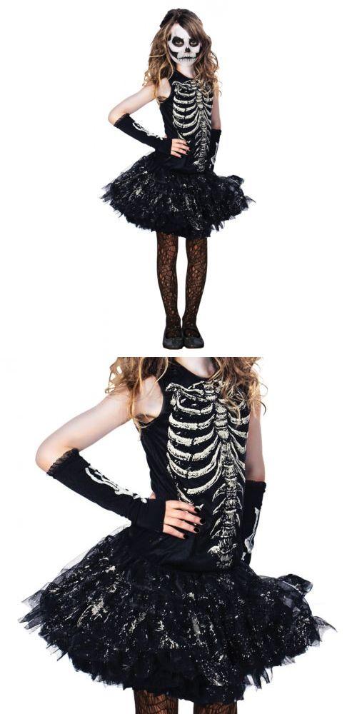 Girls 80914: Skeleton Costume Kids Halloween Fancy Dress -> BUY IT NOW ONLY: $31.59 on eBay!