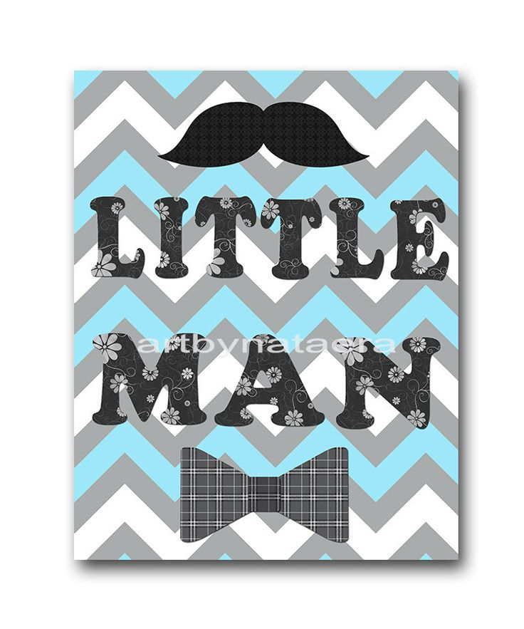Hahaha, i could so make this for you in your colors, and different patterns, Nat!  Little man Baby Boy Nursery art print Children by artbynataera, $14.00