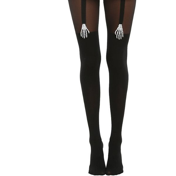 Blackheart Skeleton Hands Black Faux Thigh High Tights Hot Topic (€12) ❤ liked on Polyvore featuring intimates, hosiery, tights, nylon tights, thigh high hosiery, opaque stockings, opaque thigh high stockings and opaque tights
