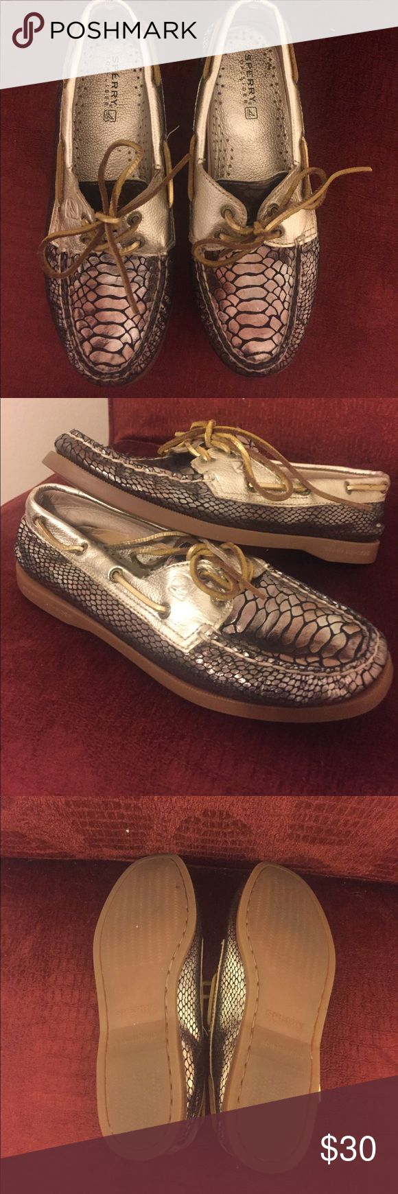 Metallic Sperry's hardly worn Gorgeous metallic Sperry shoes. Leather laces still in tact. Sperry Top-Sider Shoes Flats & Loafers