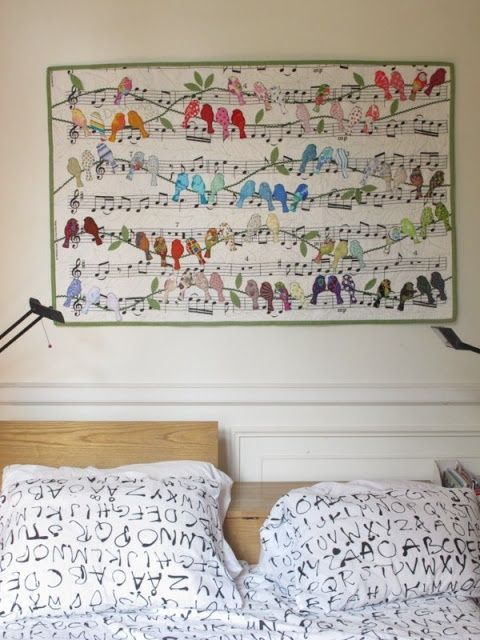 inspiration: birds and musical notes quilt (I think the original source is somewhere here http ...
