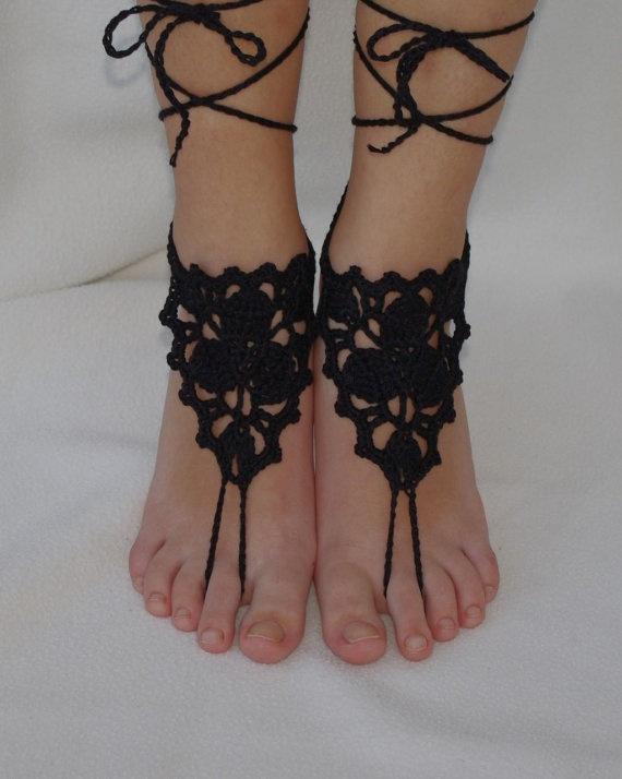 black lace barefoot sandals