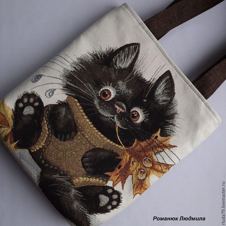 """Купить Сумка женская """"Котенок с осенним листом"""" (кошка, кот, гобелен) - сумка ручной работы"""