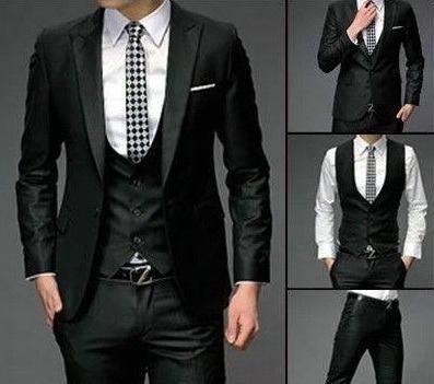 Terno Slim Fit Luxury Preto Com Colete Vest