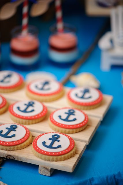 Adorable cookies at a Nautical Birthday Party! See more party ideas at CatchMyParty.com!