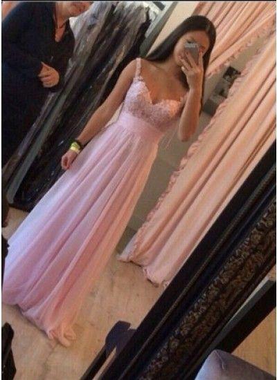 A-Linie Träger langes Damen Kleid Abendkleider Spitzenkleid #SP8491