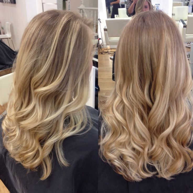 Natural blonde balayage, soft free hand hair painting summer hair