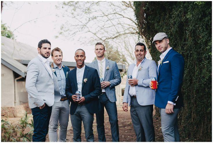 www.vanillaphotography.co.za | Durban wedding photographer, Tala Game Reserve, Durban wedding venue, game lodge, safari wedding, groomsmen, mix and match suits, casual groomsmen, navy hues