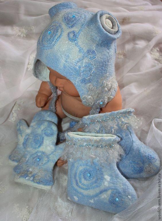 Купить Комплект для малыша валяный - голубой, комплект для мальчика, шерсть, валеночки детские, рукавички, шапочка