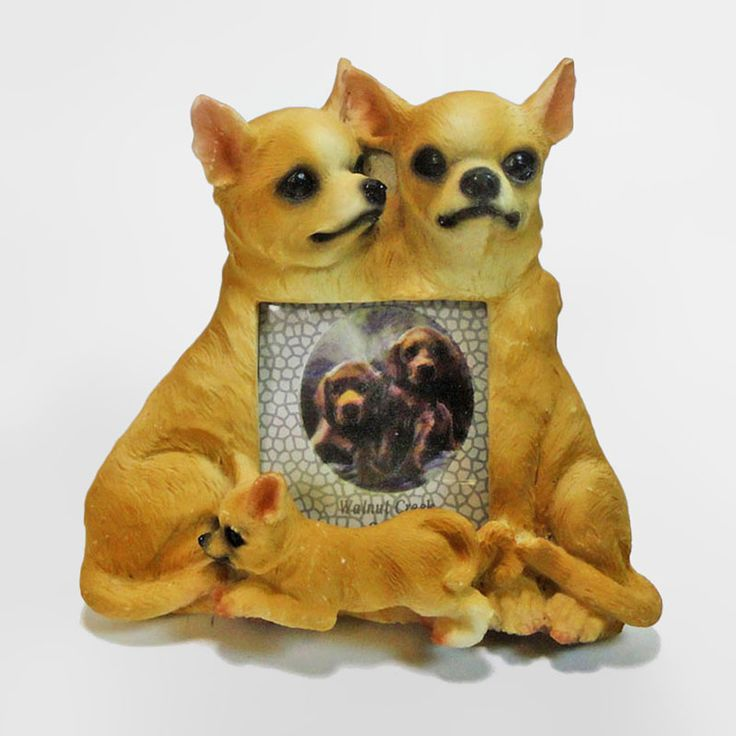 Chihuahua Dogs and Puppy Figurines Small Polyresin Picture Photo Frame - PFD677S - Chihuahua dogs and puppy small polyresin dog figurines table or desk photo frame with easel back. Holds one 2 x 3 picture. Perfect for small places where space is an issue such as an office cubicle or bedside table - FOR SALE at www.ClaudiasBargains.com