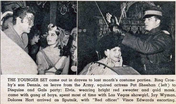 Attending a costume party with actress Pat Sheehan, Vegas show girl Jay Wyman, Delores Hart, Vince Edwards and Dennis Crosby (son of Bing who was on army leave)