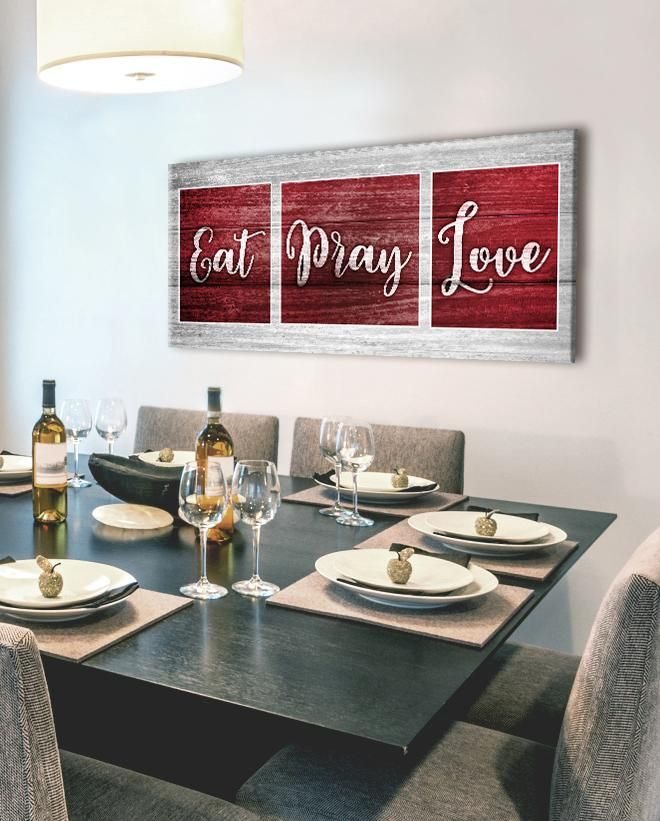 Kitchen Wall Art EAT PRAY LOVE (Wood Frame Ready To Hang) in 2018