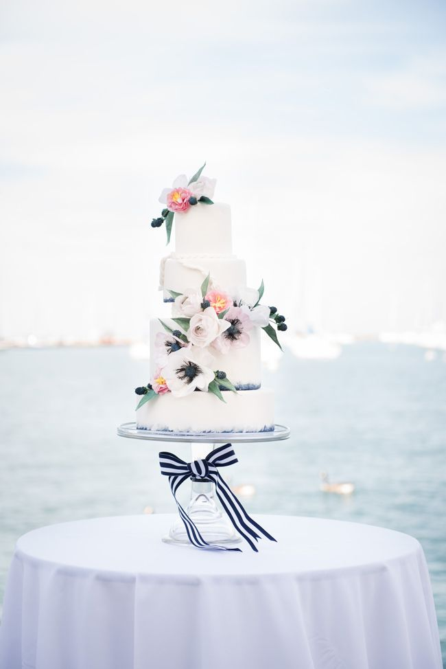 Floral & ribbon tied wedding cake - Nautical Wedding Inspiration - Coastal Bride