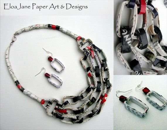 Necklace and earrings set made of recycled paper by designer EloaJane. The qualities and richness of prints on magazines and the earth tones