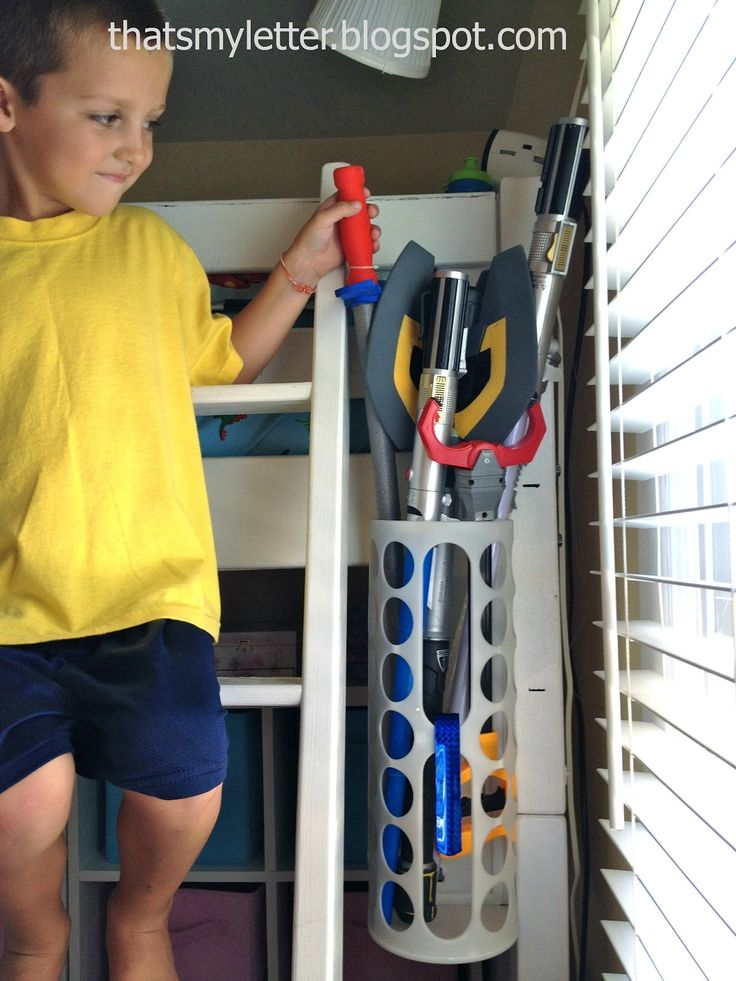 """Toy weapon storage from plastic bag holder via That's My Letter: """"I"""" is for Ikea Hack"""