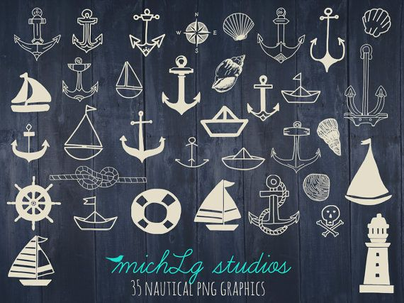 35 Nautical PNG graphics/ clip art by michLgstudios on Etsy. So many to choose from! Now to decide which 1 to paint in the girls room... Maybe more than 1 :)