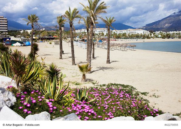A Beach in Puerto Banus, Marbella, Spain - Puerto Banus is a small but exclusive marina between Marbella and San Pedro, in Nueva Andalucia that offers beautiful beaches, expensive shopping malls, restaurants and bars for everyone's taste. Its beaches are perfect to soak up the sun, relax in one of many bars and enjoy the view of luxurious yacht.
