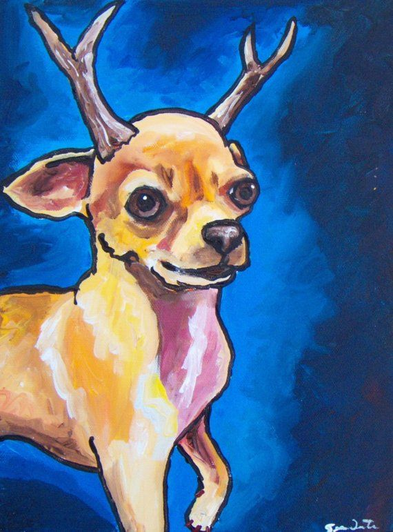 Chihuahualope deer head chihuahua funny original painting ...