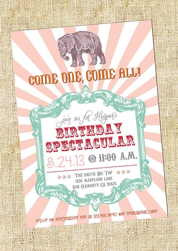 76 best Vintage Circus Party images on Pinterest Birthday party - circus party invitation