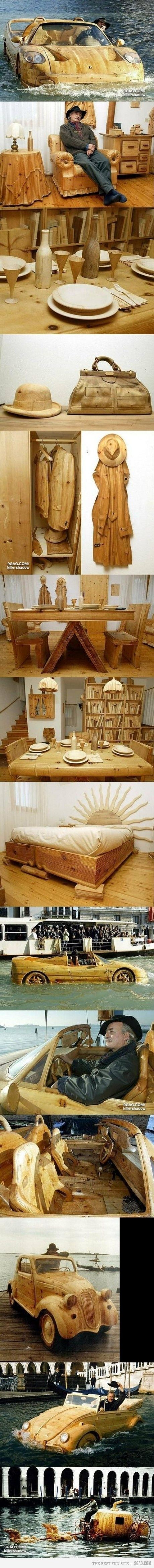 wood art from cars to driveable wooden boats to furniture