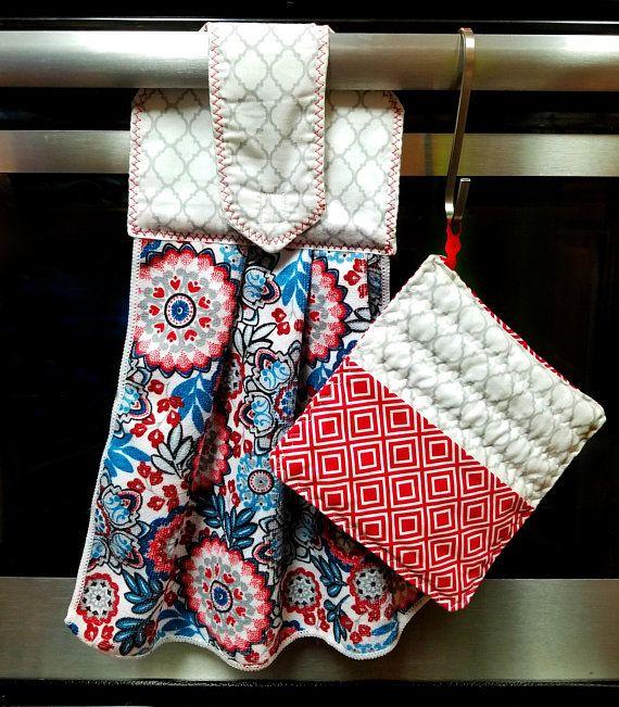 Kitchen Hanging Towel Pot Holder Set Paisley Pattern