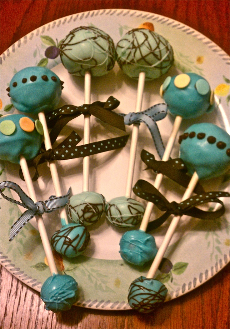 Baby Rattle Cake Pops - Peanut butter and chocolate, Oreo, and Vanilla