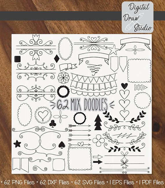 62 Elements Vector  Variety Doodles Clip Art  Hand Drawn