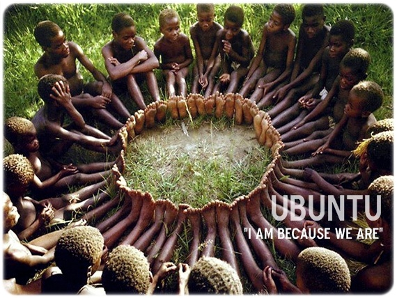 """""""UBUNTU""""– how could one of us be happy (feel happiness) while the rest are in despair, unhappy?""""  UBUNTU in the Xhosa culture means: """"I am, because we are.""""  Read about culture's unity:  http://thislifehasmeaning.com/tag/xhosa/"""