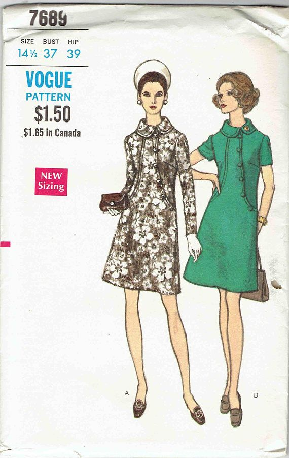 60s Vogue Dress Pattern 7689 Mod A Line Dress Roll Collar