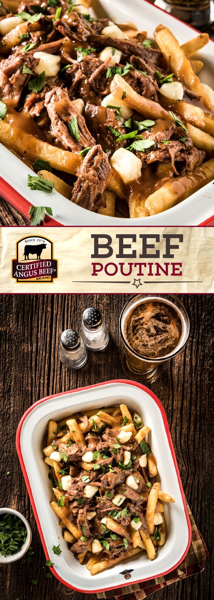 Certified Angus Beef®️️️ brand Beef Poutine is the definition of COMFORT FOOD! This simple and EASY recipe uses SLOW COOKER eye of round roast for a melt in your mouth delicious dish. Perfect for a family meal or a game day party!  #bestangusbeef #certifiedangusbeef #beefrecipe #easyrecipes #gamedayrecipes